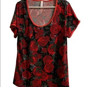 LuLaRoe Vintage Halloween Roses and Web Top- large